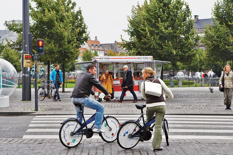 The city makes getting around easy for tourists and residents alike, by providing roughly 2,000 free bicycles, available at stands throughout Copenhagen.