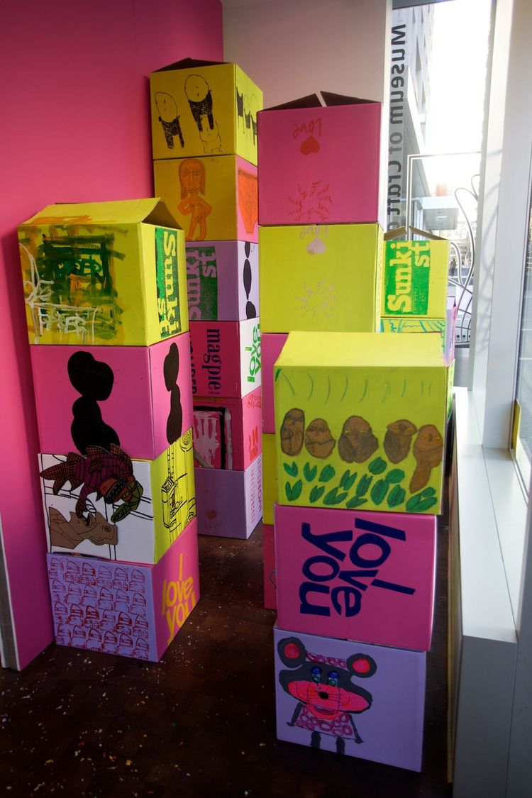 """Corita's pedagogy and 'Look and Make' ethos are evident in these painted """"CreateRelate"""" boxes. These were created in a commissioned workshop with Creative Growth Art Center, who asked their artists (adults with developmental, mental and physical disabilit"""