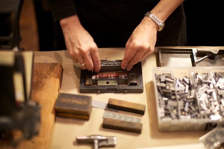 The show's opening reception included a hands-on letterpress demonstration.