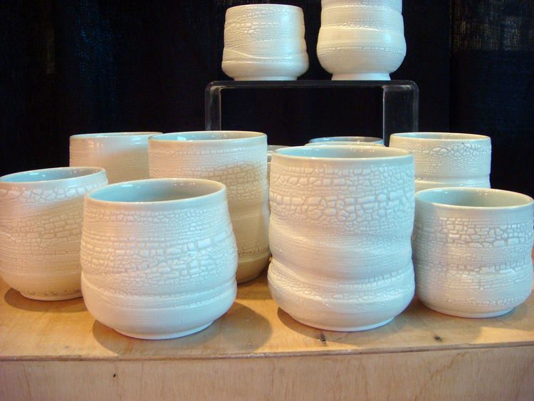 """Inspired by Scandinavian and Asian design, Arcata, California-based <a href=""""http://www.peggyloudon.com"""">Peggy Loudon</a> creates objects that """"bring a sense of beauty and calm to a home."""" I really liked the crackle glaze on these cups, which looks like c"""
