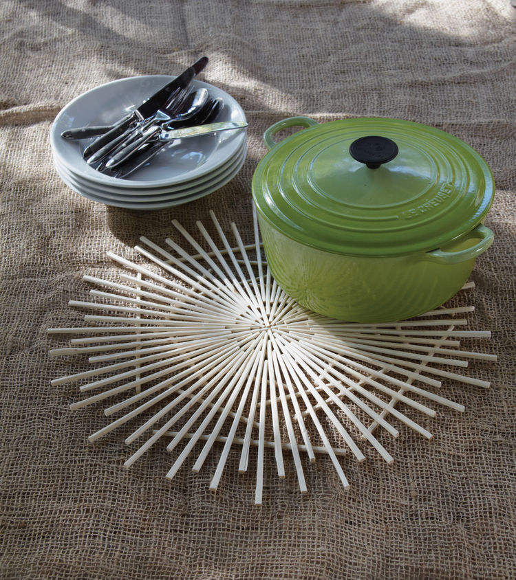 """A trivet made from take-out chopsticks, """"one of the most common junk drawer staples,"""" according to Danny."""