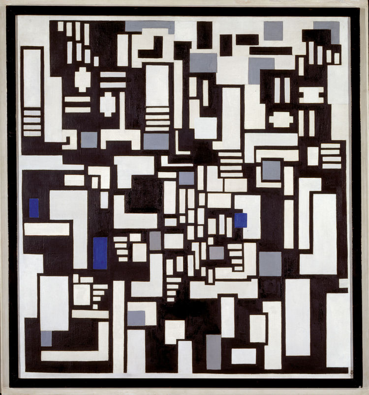 Born Emile Kupper, Theo van Doesburg (here with Composition IX; Opus 18 (Decomposition of The Card Players) from 1917-18) was one of De Stijl's leading artists and theorists. Oil on canvas in a wooden frame covered with oil paint, 127 x 117 cm. Gemeentemu