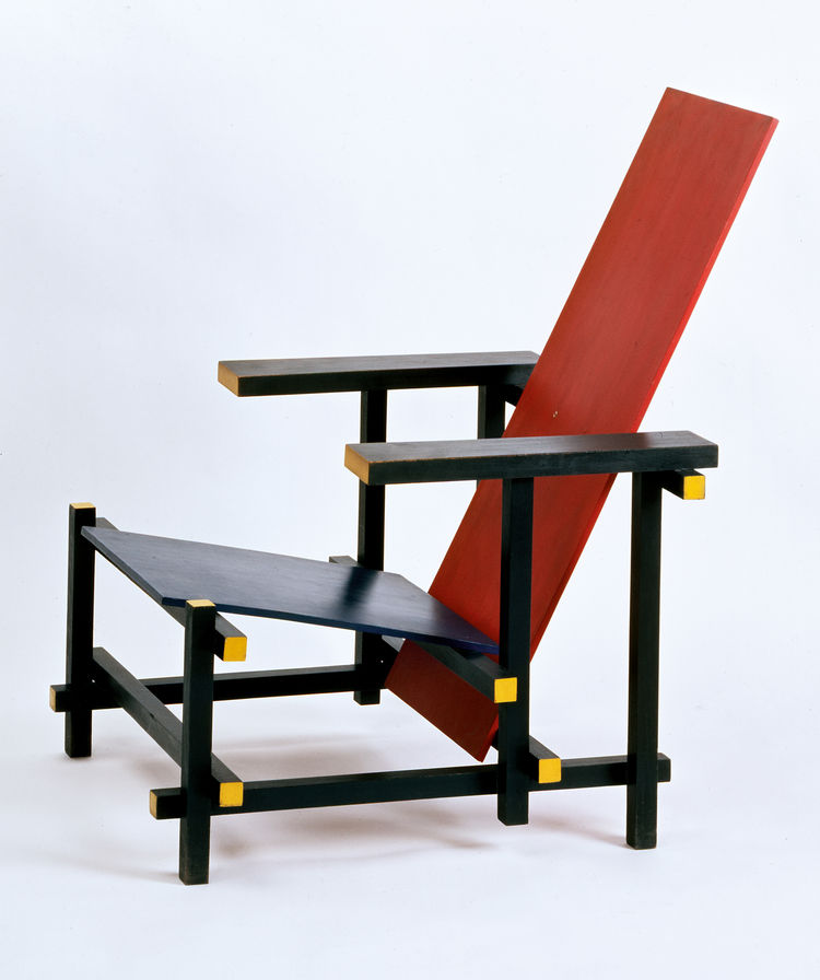 This chair by Gerrit Rietveld hardly needs an introduction. Red and Blue Chair, 1917, made by: Gerard van de Groenekan after 1917, painted birch wood, 87.5 x 60 x 76 cm. Gemeentemuseum Den Haag, purchased from Truus Schröder of Utrecht, 1955