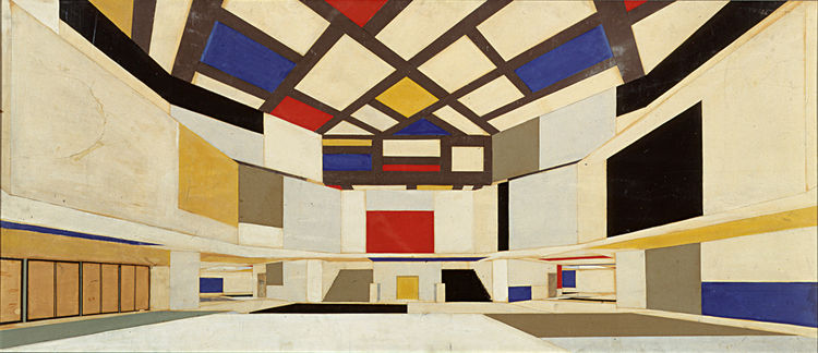 Theo van Doesburg and Cornelis van Eesteren, Color design for a university hall in perspective, facing the stairwell, 1923, pencil, gouache and collage on paper, 62 x 144 cm. Collection of the NAi, Rotterdam, Van Eesteren archive