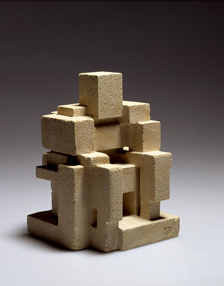 "The forms here in Georges Vantongerloo's ""Interrelation de volumes"" (Interrelationship of volumes) from 1919 could be a sculpture, a Mayan form, some brutal piece of furniture writ small. Stone, 12.0 x 12.0 x 18.0 cm. Collection of Chantal and Jakob Bill,"