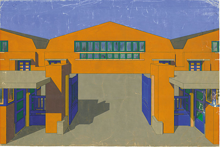 De Stijl rarely skimped on color, one of the pleasures of this brand of Dutch design. Jan Wils, Presentation drawing of the entrance to the C. Bruijnzeel office building and door factory in Purmerend, 1920, pencil and gouache on paper. Collection of the N