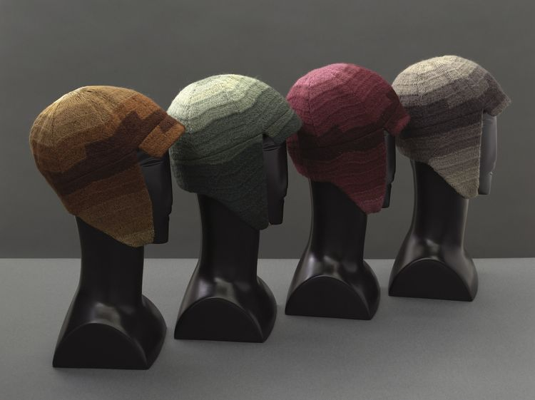 Driving caps, France, 1924–28. Silk and wool embroidery on cotton. Musée de la Mode de la Ville de Paris, Galliera. © L & M SERVICES B.V. The Hague 20100623.