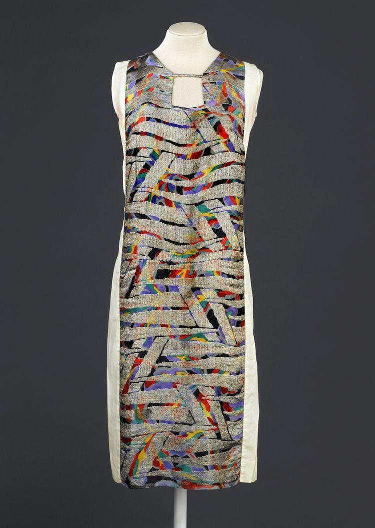 Dress, designed by Sonia Delaunay, France, 1925-28. Printed silk satin with metallic embroidery. Musée de la Mode de la Ville de Paris, Galliera. © L & M SERVICES B.V. The Hague 20100623.
