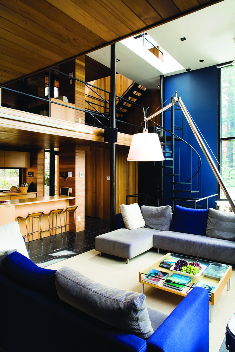 Rene Daoust, principal of Daoust Lestage Inc., uses large swaths of cobalt-blue and slate in her in her home.