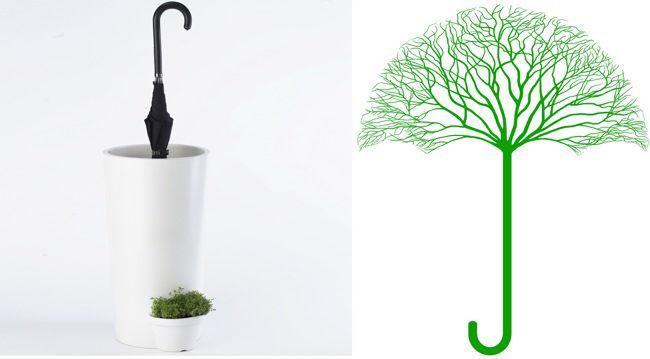 'Umbrella Pot' by Kyouei Design (Kouichi Okamoto), Japan; 'Green is Protective Umbrella of Human' by Jingfu Wei, China
