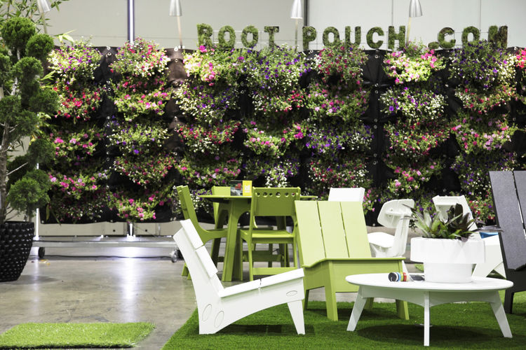 """A living wall by <a href=""""http://rootpouch.com/"""">Root Pouch</a>, a company that produces a variety of eco-friendly plastic alternatives."""