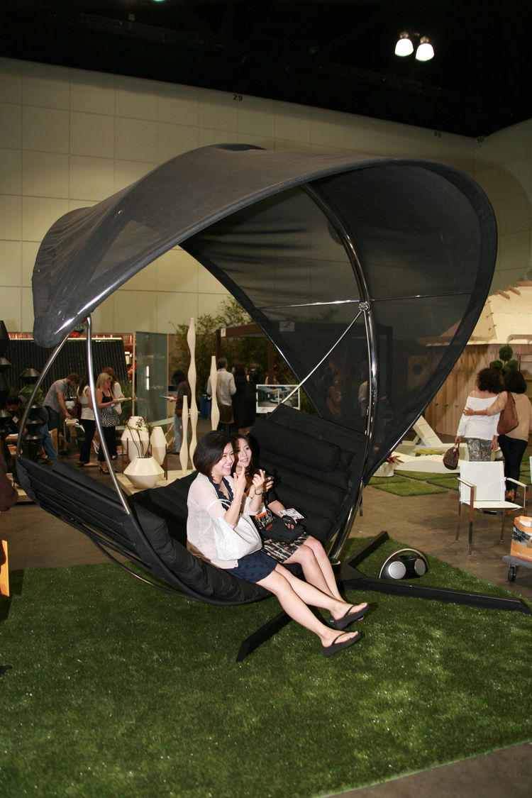 """This might be the only shot of The Wave, a hammock-and-sun-shade by <a href=""""http://www.royalbotania.com/"""">Royal Botania</a>, that doesn't have a blissed out person swaying inside. It was a huge hit for weary show-goers."""