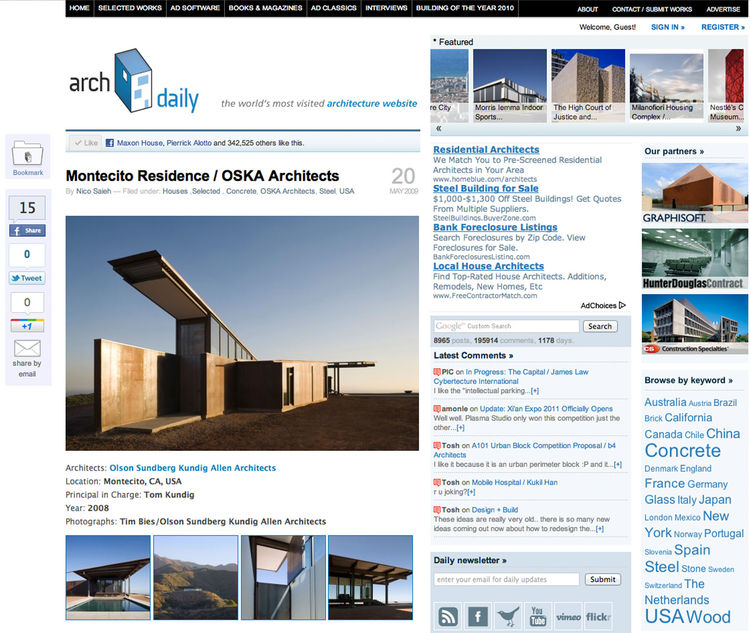 "A Google search early in the process quickly turned up one of the most comprehensive sites of architectural inspiration. <a href=""http://www.archdaily.com"">ArchDaily</a> is drool-worthy and I found the global scope of featured projects, including brillian"