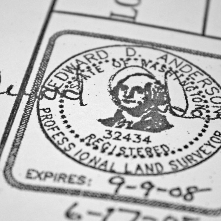 The official stamp of our surveyor, Mead Gilman Associates. Nothing is official until its signed, stamped, sealed and delivered.