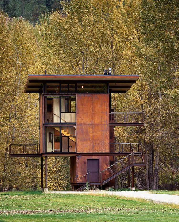 "Delta Shelter by Tom Kundig, in collaboration with Phil Turner of <a href=""http://www.dwell.com/articles/building-the-maxon-house-week-13.html"">Turner Exhibits</a>. The shutters move on a track to open and close depending on whether the owner wants a view"