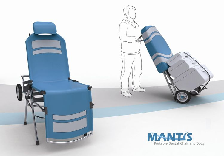 Mantis is a fully adjustable portable dental chair that also doubles, when collapsed, as a dolly to carry bulky and heavy equipment. It was designed with non-profit medical organizations in mind; it can be carried as luggage rather than airlifted into the