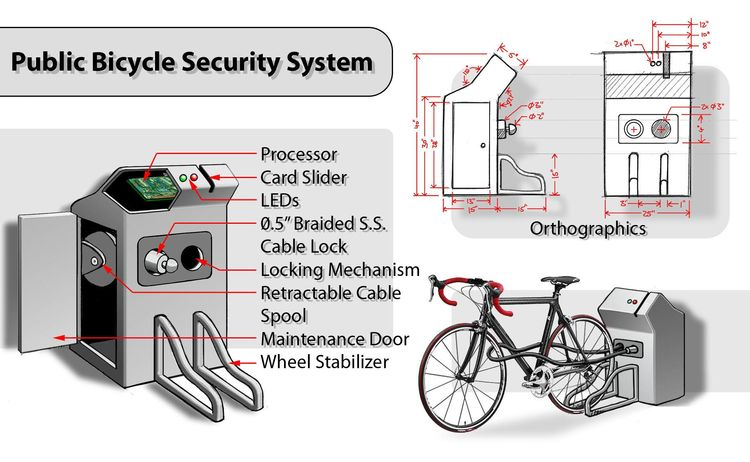 Another bike-related winner, the Public Bicycle Security System, is a bike rack with an integrated lock and alarm. Flexible cable locks enable the user to lock all of the bike's components, while a circuit embedded in the cable adds a second level of secu