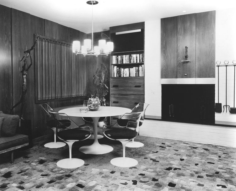 """The """"Reflections"""" rug in another circa 1960's interior. Fields' rugs can be found in some of the most famous mid-century homes, including  Skidmore, Owings, & Merrill's Lever House, Philip Johnson's Glass House, and Frank Lloyd Wright's Hollyhock House."""