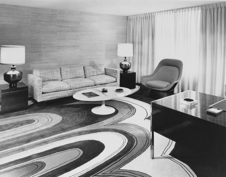 """""""Short Circuit"""" was popular in the 1970s for its bold pattern. Throughout the company's 70-year history, Edward Fields has collaborated with some of the most talented designers, including Raymond Lowey, textile designer Marion Dorn, Burt Groedel, and Van"""