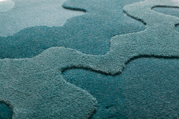"""The """"Wavelength"""" rug, designed in the 1970s, shown up-close."""