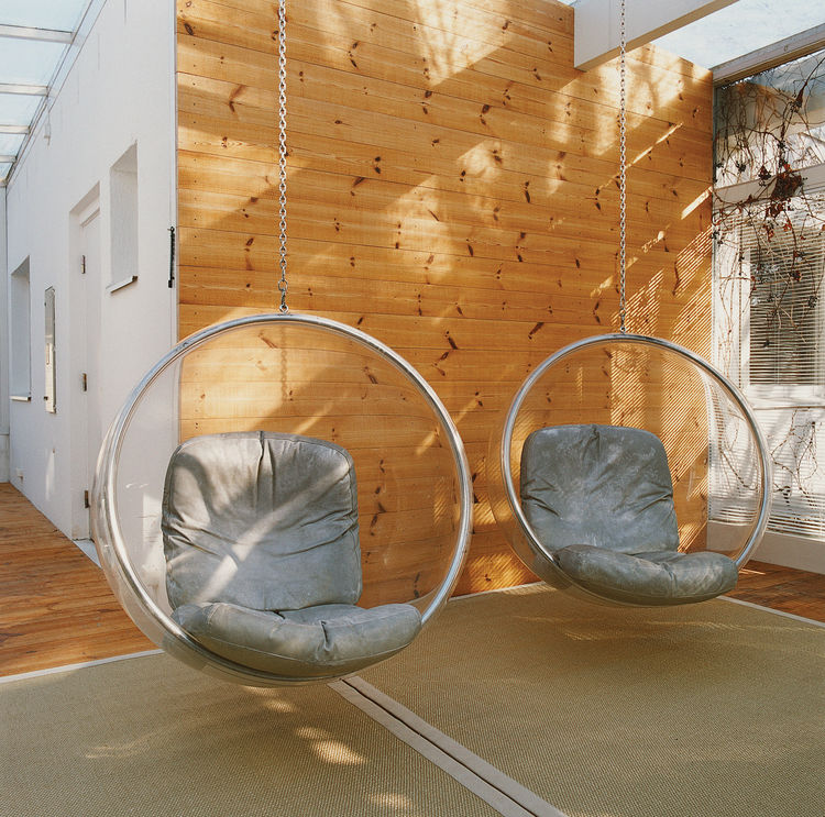 The Bubble Chair is made from a single sheet of heated acrylic.