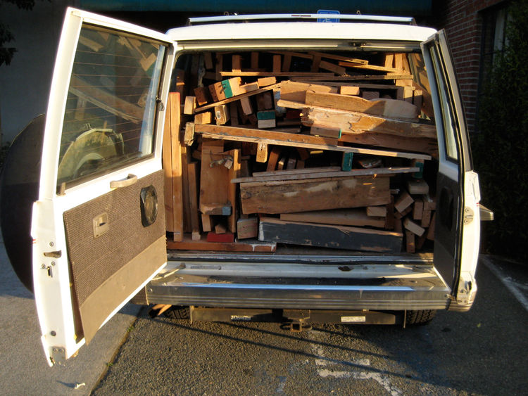 This was a very satisfying day. Here's the entire loft smooshed into the back of my Isuzu. Removing the demo material was actually pretty easy in our building because we have a massive freight elevator that used to lift cars, so I rolled the materials dow