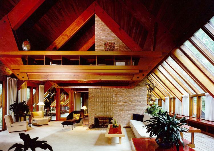 Inside the living room of the Ashmun residence designed by Alden B. Dow.