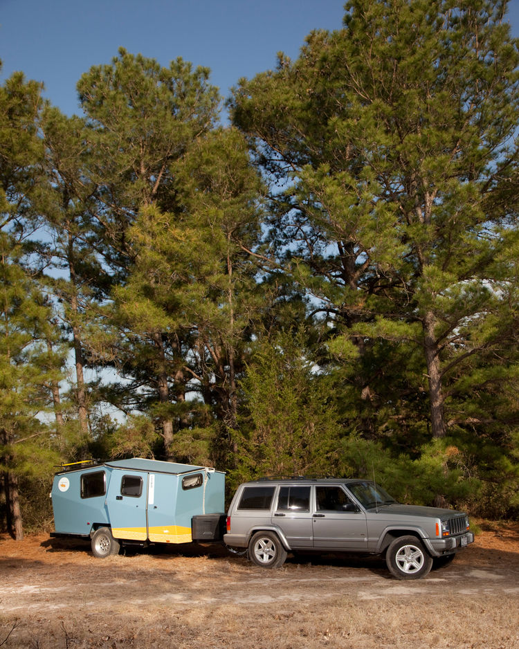 "The Cricket was easy to move throughout the 9E Ranch property. Finney designed the camper so that a car as small as a Subaru Outback can haul it around. ""The hope is that you already own your towing vehicle,"" he says."