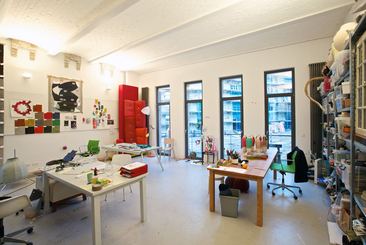 Another view of Jongerius's studio, full of colorful evidence of creativity at work.