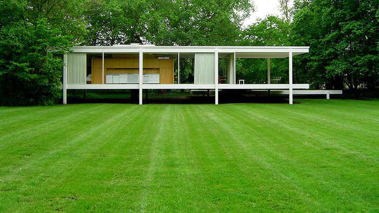 The Farnsworth House, built in 1951 in Plano, Illinois, by Mies van der Rohe.
