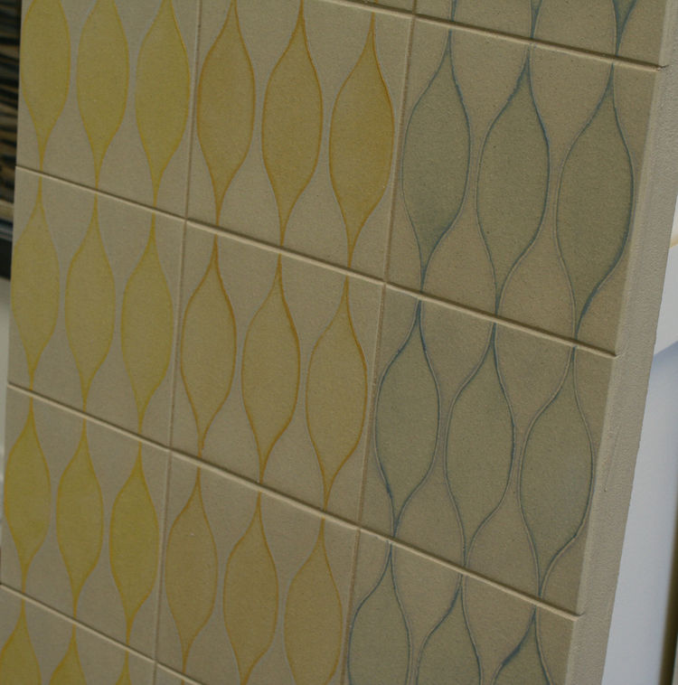 "This subtle, geometric brand new line of tile called <a href=""http://instincttile.com/"">Instinct</a> out of Chicago. It is a blond quarry body with a low-fire glaze from <a href=""http://www.lowitzandcompany.com/"">Lowitz & Company</a>, with a design inspir"