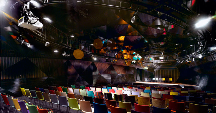 "<a href=""http://www.theseed.gen.tr/tr/index.html"">The Seed</a> conference center in Istanbul has an auditorium filled with 300 Spira chairs by Lammhults that span the color spaectrum."