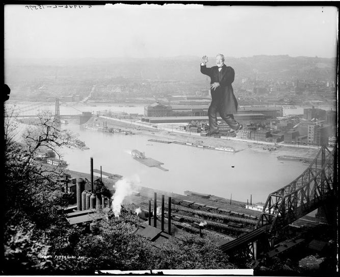 "Andrew Carnegie ravaging Pittsburgh as seen on <a href= ""http://www.etsy.com/shop/alternatehistories"">Alternate Histories</a>."