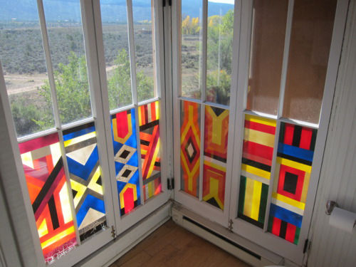 This window painting by English writer D.H. Lawrence at the Mabel Luhan house in New Mexico has a geometric bent.