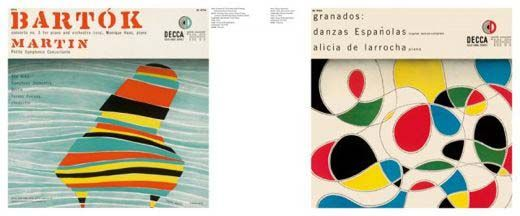 Album covers designed by Alex Steinweiss, who passed away this week.