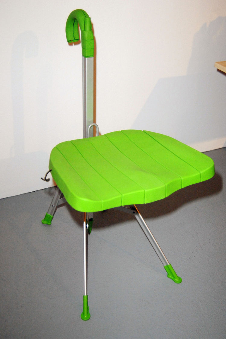 The folding Umbrella chair, a highly idealistic and still-functional design from 1994.
