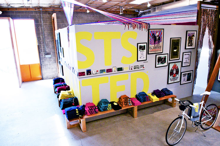 """Hand silk-screened T-shirts, priced from $85, are Free City's bread and butter; also popular are their sweatpants and sweatshirts. Each piece of clothing has been """"hand-touched, worked on by many hands,"""" says Garduno."""
