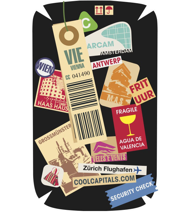 "Frequent Flyer Badges<br /> Submitted by Francis Dempster<br /> Designer's Statement:<br /> ""My inspiration was the design of luggage tags and shipping stickers, especially vintage labels. I felt that the variety of stickers allowed me to reference each c"