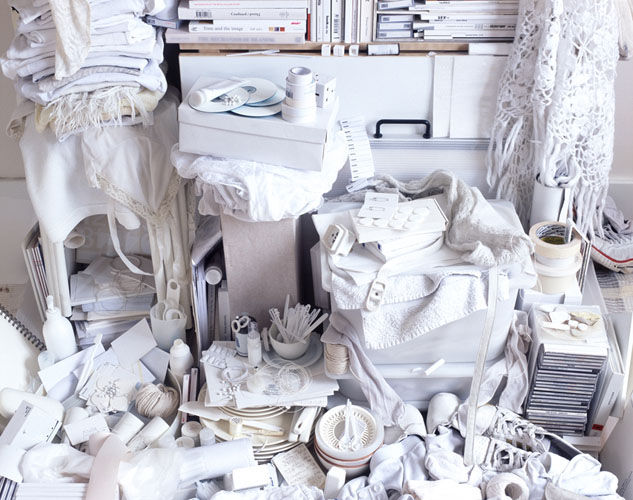 "See Through - All My Things /white/, 2004, C-type Print, 30"" x 36"". By Helga Steppan"