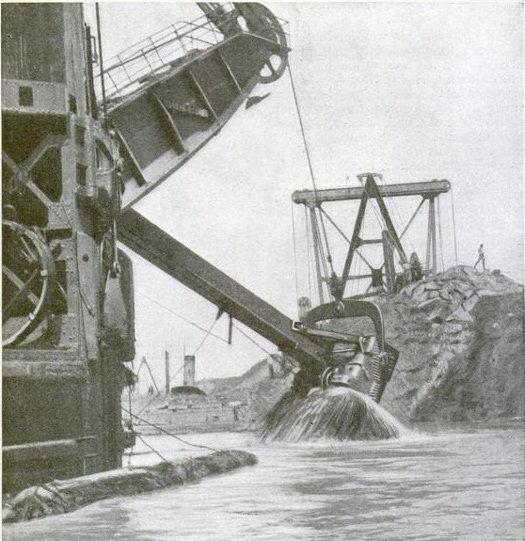 Cutting through the Panama Canal, circa 1916.