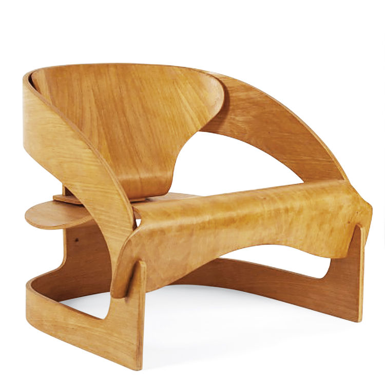 mid-century designer Joe Colombo Kartell 4801 plywood chair reissue