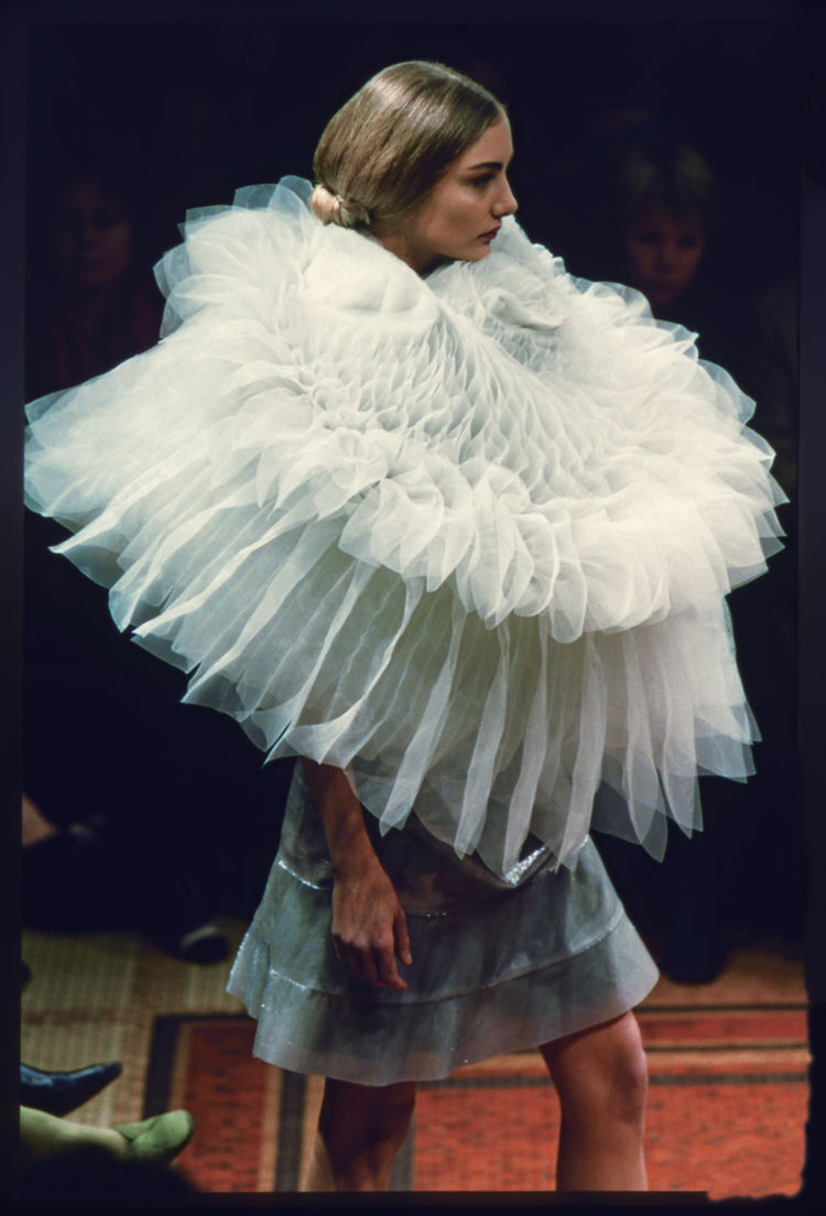 "This dress is from Junya Watanabe's Autumn/Winter 2000-2001 collection for Comme des Garcons. The ""techno couture"" collection was marked by organdie ruffs and polyester construction."