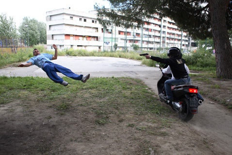 Still from Gomorrah of Gaetano being killed by rival gangsters