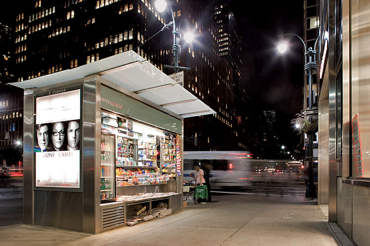 Grimshaw's glowing newsstand, 2006, in New York. Photo by Matt Greenslade.