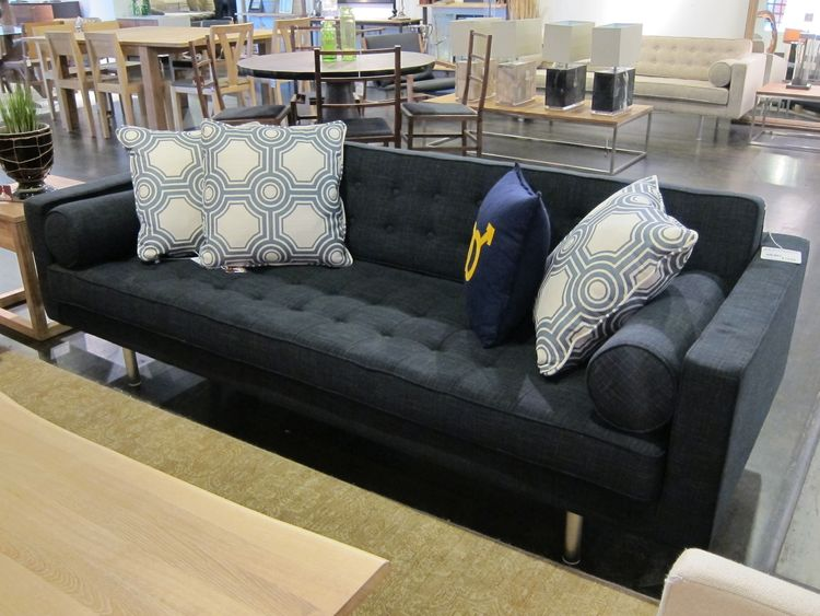 This mid-century styled sofa is made in China, and priced at $1,450. It's a rare exception to the shop's mostly made-in-the-U.S.A. fleet of upholstered items.
