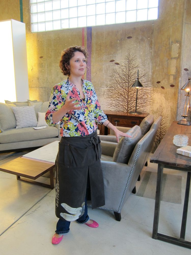 Here's Robin Cook, H.D. Buttercup's Operations Manager. She showed me Lee Industries' eco-friendly upholstered pieces, made in the U.S. with down-wrapped soy-core cushions and foam made from recycled milk jugs. The factory recycles 98% of its waste.