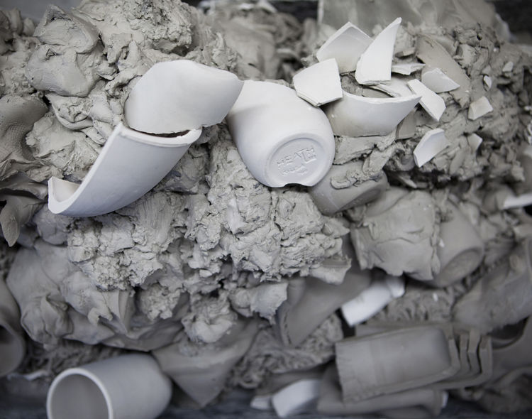 Like an archaeological site, remains of stoneware can be found in the recycled clay from the Sausalito factory.