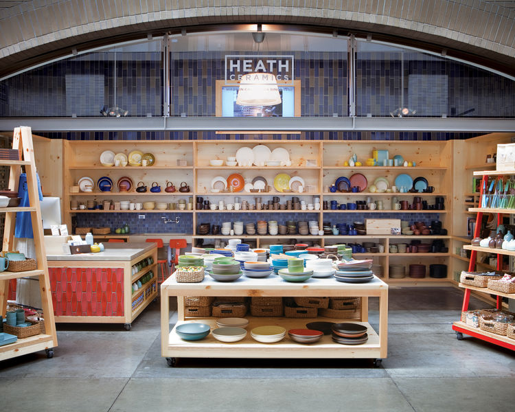 A short ferry ride across the Bay, the San Francisco Ferry Building is the latest location for Heath to display its colorful wares.