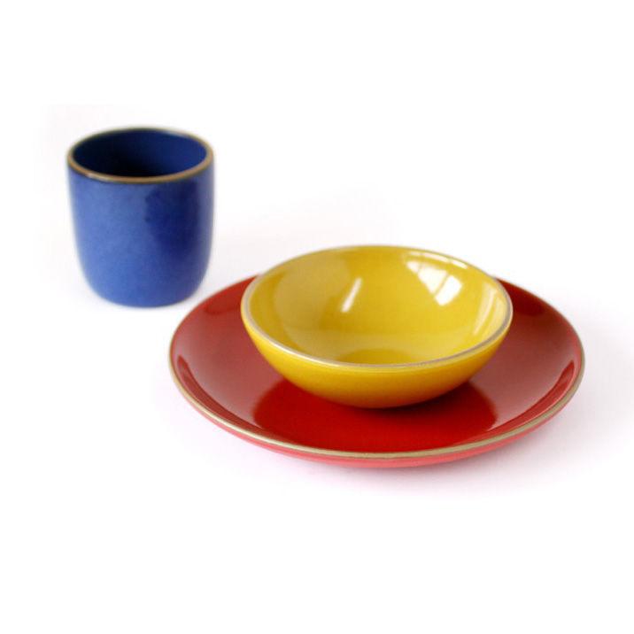 "Three-piece children's dinnerware set by <a href=""http://www.heathceramics.com/go/heath/homeware/store/index.cfm?catID=54#shop"">Heath Ceramics</a>, $75.00."