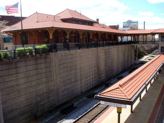 Originally built in 1907, the train station was renovated in 2003. High Point received its name because it was the highest point of elevation along the railway line between Charlotte and Goldsboro.